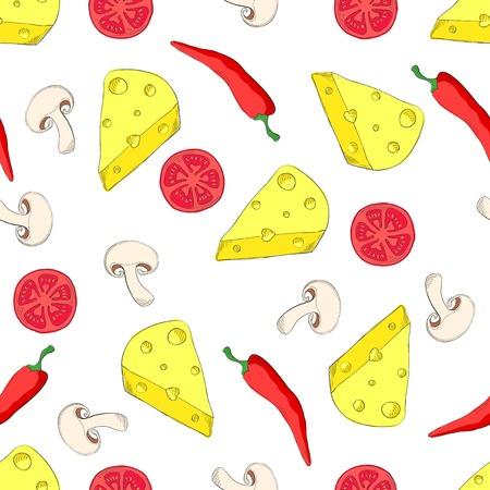 champignon: Vegetarian pizza ingredients in seamless pattern - cheese, chili, tomato, mushroom
