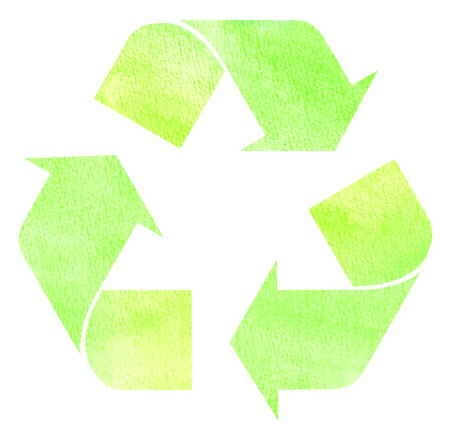 recycle logo: Green textured watercolor recycle sign isolated on white