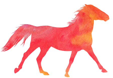 watercolor technique: Running  horse silhouette in watercolor technique, red colour