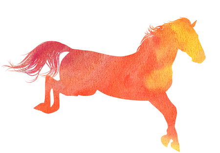 watercolor technique: Jumping horse silhouette in watercolor technique, red colour