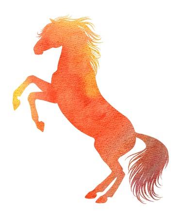 cavallo che salta: Elevazione del cavallo silhouette in tecnica dell'acquerello, colore rosso