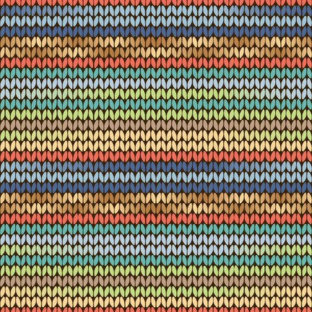 Knitted ethnic pattern with yellow, green and blue stripes Vector