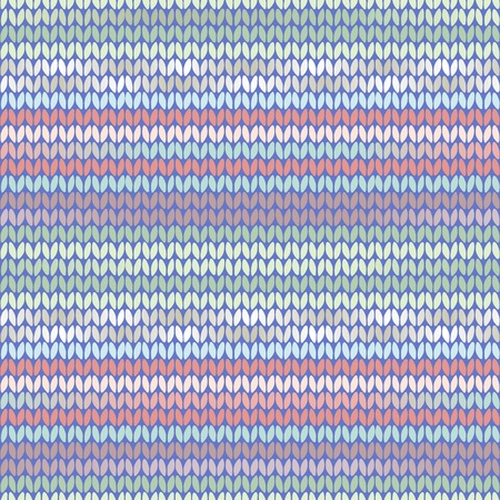Knitted ethnic pattern with ligh tblue, green, pink and purple stripes
