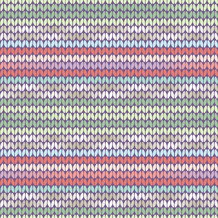 Knitted ethnic pattern with ligh tblue, green and pink stripes Vector