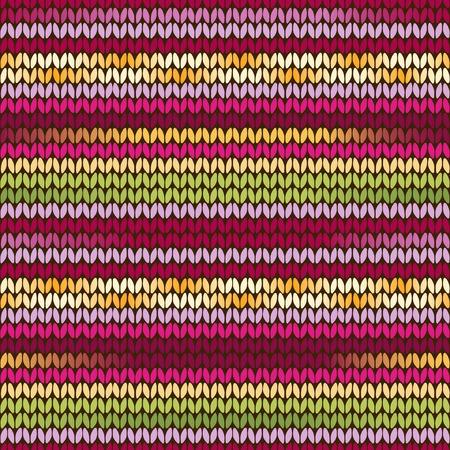 verde y morado: Patr�n �tnico de punto con rayas amarillas, verdes, p�rpuras y rosados