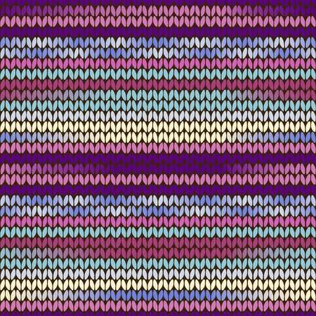 Knitted ethnic pattern with purple, turquoise, pink and blue stripes Vector