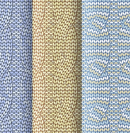 plaited: Knitted plaited pattern with front and back knitting 3 colours