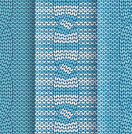 plaited: Set of cabled knitted pattern with blue and white stripes