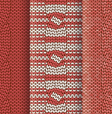 Set of cabled knitted pattern withred and white stripes Vector