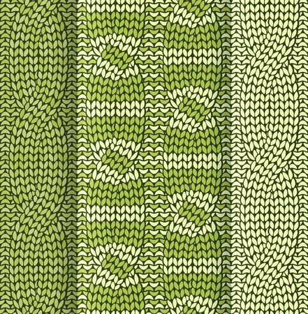 knitted fabrics: Set of cabled knitted pattern with olive green stripes Illustration
