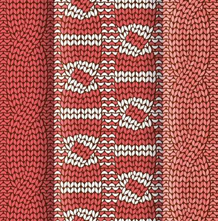 plaited: Set of asimmetrical cabled knitted pattern withred and white stripes