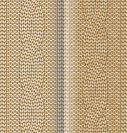 Beige knitted pattern with braids in two color variations Stock Illustratie