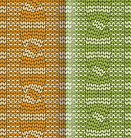plaited: Orange and green striped  knitted pattern with braids Illustration
