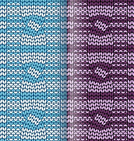 plaited: Rayas patr�n de punto azul y p�rpura con trenzas