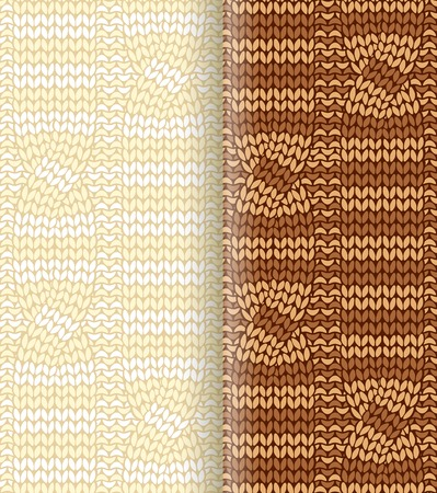 Beige and brown striped  knitted pattern with braids