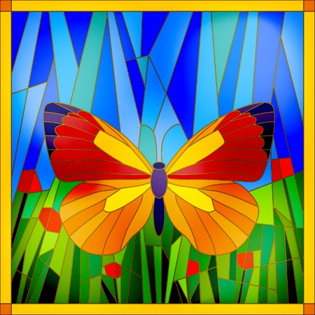 Colorful stained glass butterfly on sky and grass background Stock Illustratie