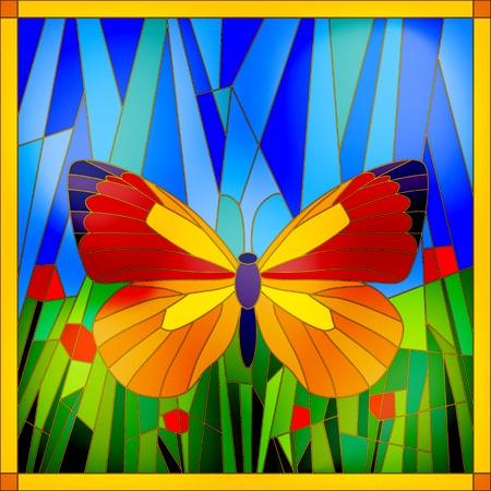 mariposas amarillas: Mariposa colorida vidrieras en el cielo y de la hierba