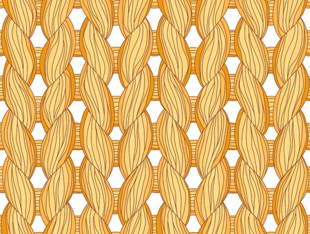 cable stitch: Closeup of a seamless knitted pattern beige colours. Illustration