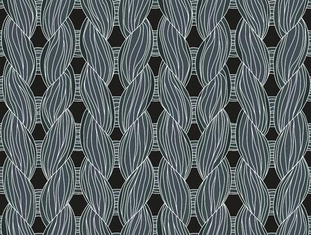interweaving: Closeup of a seamless knitted pattern dark colours.