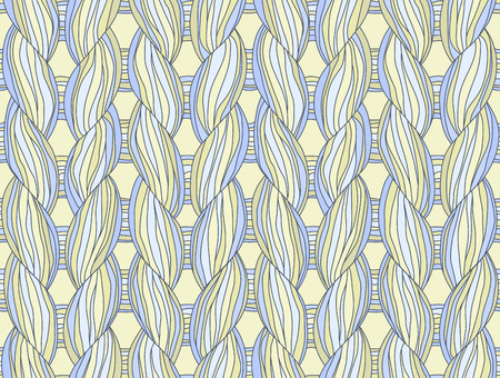 cable stitch: Closeup of a seamless knitted pattern beige and blue colours. Illustration