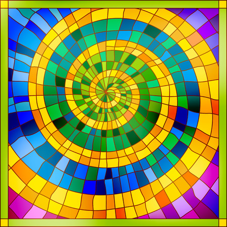 colorful: Spiral shiny bright colourful stained glass ornament