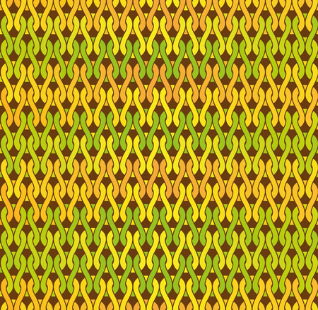 Woven knitted seamless detailed pattern. Yellow green and orange gradients. Illustration