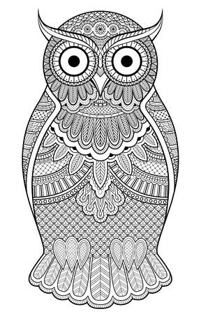 oiseau dessin: Décoré hibou orné de motifs et ornements