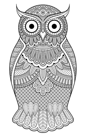 isolated owl: Decorated ornate owl with patterns and ornaments