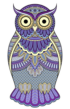 Decorated ornate owl with patterns and ornaments