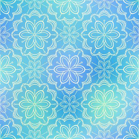 shiny background: Seamless doodle flower pattern on shiny blue background
