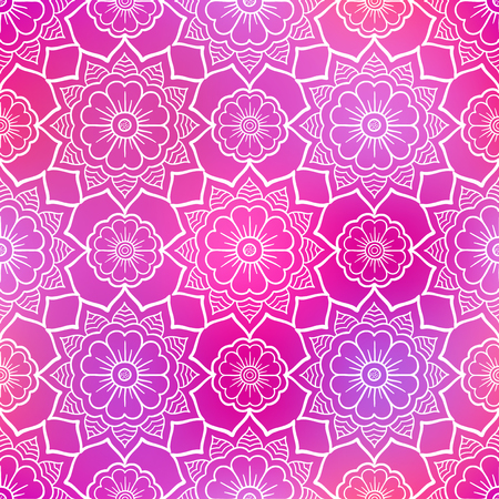 pink flower background: Seamless doodle flower pattern on shiny pink background Illustration