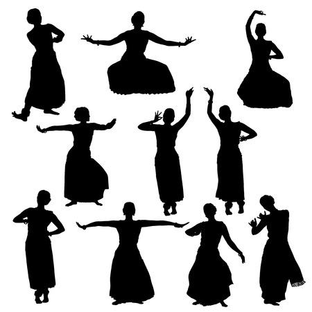 bharatanatyam dance: Silhouettes of woman performing indian dance bharatanatyam