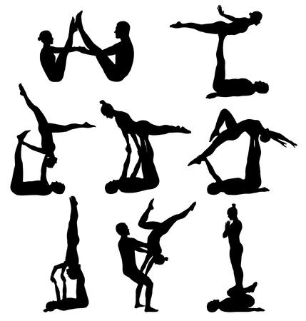 acrobacia: Siluetas del hombre y de la mujer que hace yoga acrobático Vectores