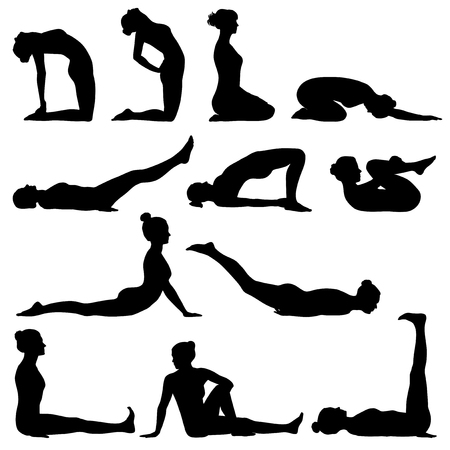 Silhouettes of woman doing different yoga poses Stock Illustratie