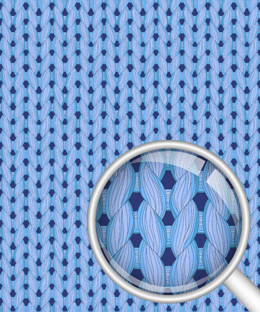 Blue realistic seamless knitted pattern with detailed close-up Illustration
