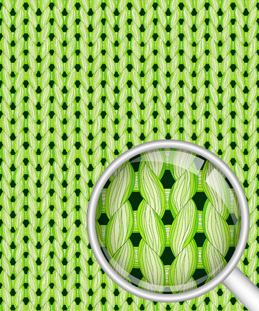 Green realistic seamless knitted pattern with detailed close-up Illustration