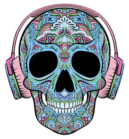 calavera: Vector colorido del cráneo gráficos con adornos florales y los auriculares
