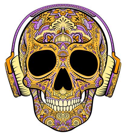 Vector colorato arancione cranio grafica con ornamenti floreali e cuffie Vettoriali
