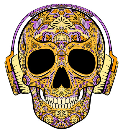 Vector colorful orange skull graphics with floral ornaments and headphones Stock Illustratie