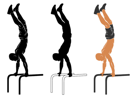 calisthenics: illustration of man performing handstand on parallel bars Illustration