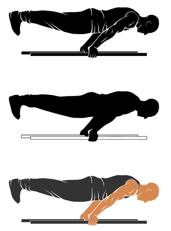 silhouettes of street workout - plank push up 向量圖像