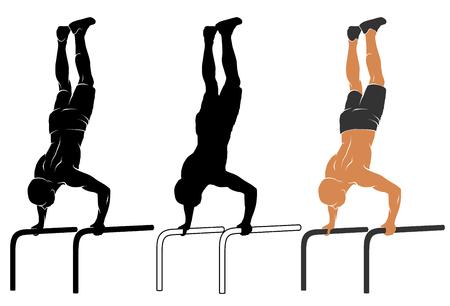 sportsman: Ilustración del vector del hombre que realiza flexión de brazos en las barras paralelas
