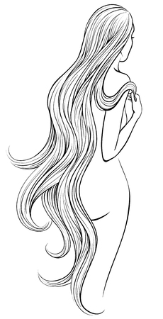 Vector cketch of naked woman with very long and wavy hair