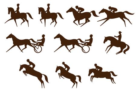 Set of 10 different equestrian sports symbols