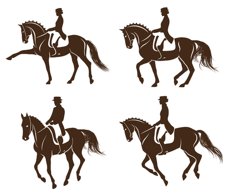 4 detailed silhouettes of horses with rider performing dressage