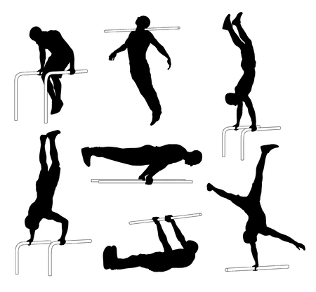 Set of different vector Street workout silhouettes