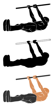 Vector illustration of man performing Front Lever