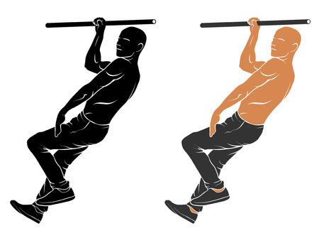 calisthenics: Vector illustration of man performing air walking Illustration