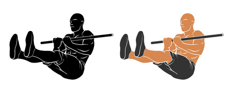 sit: Vector illustration of man performing L sit pull up