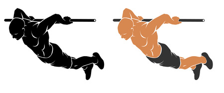 calisthenics: Vector illustration of man performing Back Lever